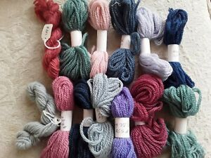 Lot 13 Skeins Wool Yarn for Needlepoint Crewel Tapestry Blue Gray Mauve DL Numbe