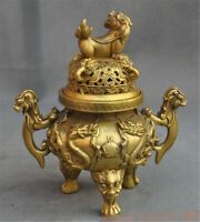 Chinese Buddhism brass dragon lion beast statue censer incense burner
