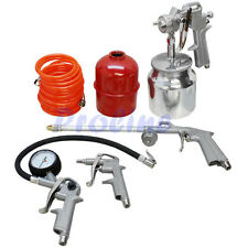 5 Pc Air Tool Kit Tire Inflator Spray Gun Washing Air Duster Recoil Hose 1/4 NPT