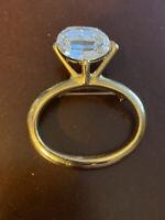 Vintage Costume Large Rhinestone Ring Pin Brooch