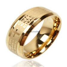 30pcs Stainless Steel Etched English Lord's Prayer Cross Wedding Gold Band Ring