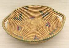 "Vintage Southwestern Tight Coil Woven Weave Handles Basket Bowl 11"" x 9.5"""