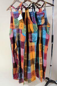 Baggy Hippie Boho Dungarees Multi coloured Jumpsuit-Size Petite UK 6/8 One size