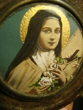 Antique Miniature celluloid frame Religious Christian Saint Portrait Painting