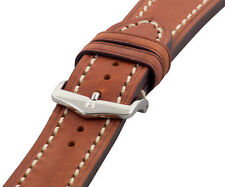 18mm Hirsch LIBERTY Brown Artisan Leather Contrast Stitch Watch Band Strap Gold