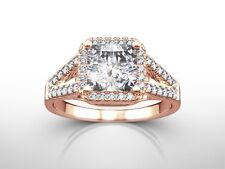 2.25 CTS PRINCESS  G/VS1  DIAMOND HALO ENGAGEMENT RING ENHANCED ROSE GOLD 18K