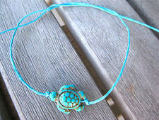 SEA TURTLE BRACELET ANKLET HOWLITE TURQUOISE BLUE WAXED COTTON STRING TIE