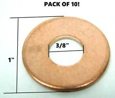 "LOT OF 10! SOLID COPPER FLAT WASHERS 3/8"" ID x 1"" OD x 1/16"" THICK NH"