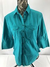 Hester & Orchard Women's Collared Button Down Turquoise Blouse Size L