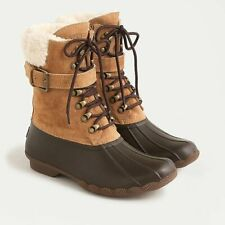 J.Crew Sperry Shearwater Boots with buckle 8 Brown Leather Rubber sole NWT $180