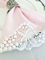 Vintage Pink Linen Napkins/Tea Towels with White Crocheted Flower Set of 4