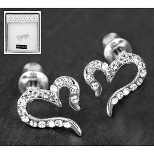 Stud Earrings Open Diamante Heart White gold Plated