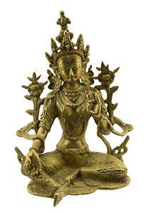 -statue der Tibetische Grün Tara Grüner Bodhisattva Tibet 2kg700 27cm Messing