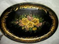 ANTIQUE FRENCH TOLE TRAY HP FLORAL AGE CRACKLES SIGNED FRANCE MARQUIN EARLY 1900