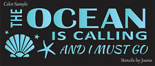 Joanie Stencil Ocean Calling Must Go Beach Cottage Porch Starfish Seashell Signs