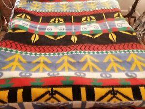 Vintage DUTCH BLANKET Multicoloured RUG Throw Bedspread Campervan RETRO Holland