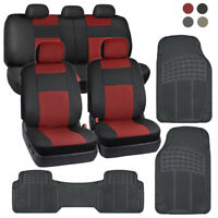PU Leather Car Seat Covers & All Weather Rubber Floor Mats - Full Interior Set