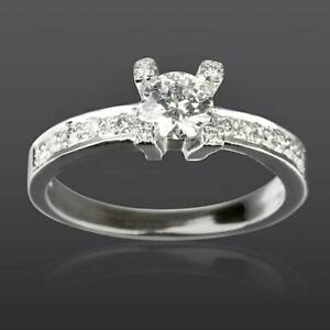 DIAMOND SOLITAIRE ACCENTED RING ROUND 18 KT WHITE GOLD SI1 D SIZE 5.5 6.5 7.5