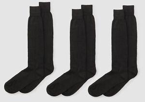 $74 Bloomingdale's Italy Men 3-Pair Pack Black Merino Wool Dress Socks Shoe 8-12