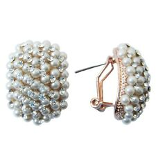Clear Crystal Buckle Earrings Bh1875 Navachi Squire Pearl 18K Gp Rhinestone