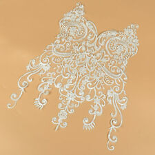 46*40cm Wedding Lace Fabric Elegant White Flower Embroidery Patch for Garment