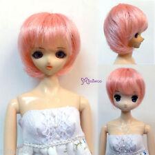 "Mimi Collection 1/6 Bjd Dollfie Short Bob Heat Resistant 3.5"" - 4"" Doll Wig Pink"