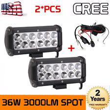 2x 7''inch 36W CREE LED WORK LIGHT BAR SPOT OFFROAD 4X4 4WD ATV Truck+Wiring Kit