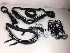 New Full Size Cart Driving Leather Parade Harness Set Show - White Patent Trim