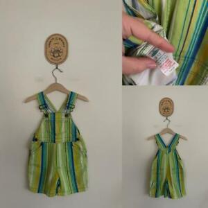 Mothercare vintage stripe overalls Sz 9-12m EUC