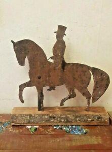 ANTIQUE FOLK ART HORSE AND RIDER WEATHER VANE