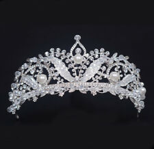 Phoenix Clear Austrian Rhinestone & Pearls Tiara Crown Bridal Prom Pageant T23b