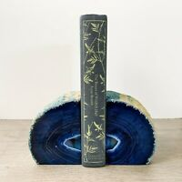 Blue Agate Bookends A+ Quality Quartz Crystal Geode Center Book End Mineral