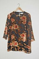 Cotswold Collections Black Velvet Top / Tunic with Roses Beautiful Size 10 BNWOT