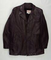 Vtg Mens Elegante by Grais Brown Leather Lined Blazer Coat Jacket 42 Made in USA