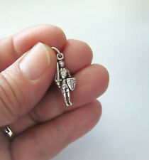 Sterling Silver Knight Charm, 3D Knight in Shining Armor, Made in USA