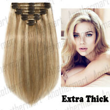 Full Head Clip in Remy Human Hair Extensions Double Wefted THICK Mix Color P580