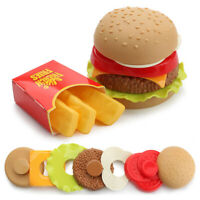 LT_ Child Pretend  Food Toy Wooden Burger Fries Fast Food Deluxe Dinner Se