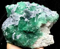 3.4lb NATURAL Calcite Octahedral Green FLUORITE Crystal Cluster Mineral Specimen