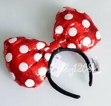 Disney Parks Red White Sequin Polka Dot Oversized Minnie Bow Ears Headband NWT