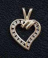 14k Yellow Gold Channel Set Diamond Heart Pendant