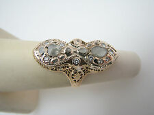 Dinner Ring 14k Yellow Gold Size 4.5 a829 Unique 1800's Single Rose Cut Diamonds