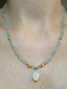 Aquamarine green blue gemstone Ethiopian fire opal cabochon 14k gold necklace