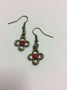 SALE Bronze hook earrings with red rhinestone floral charm