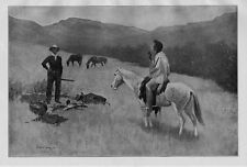 FREDERIC REMINGTON HORSES INDIAN THE RED MAN AND THE WHITE MAN MEET SADDLE HORSE