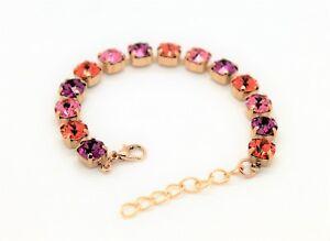 Rose Gold Plated Pink Tone Tennis Bracelet with Swarovski Crystal Elements