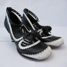 Irregular Choice Black + White Leather Bow Frill High Heel Shoes 6 UK / 39 EUR