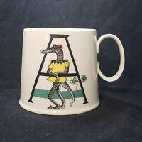 Anthropologie Florence Balducci Monogram Letter A Alligator Initial Coffee Mug