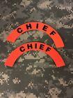 Pair Of 1st Responder/ EMS/ Fire Helmet Crescent Decal: Chief Orange / Red