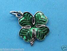 Vintage silver IRELAND SHAMROCK FOUR LEAF CLOVER LUCK IRISH BRACELET charm #F