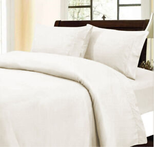 Egyptian Cotton Premium Ivory Duvet Collection Solid Select Item & UK Size